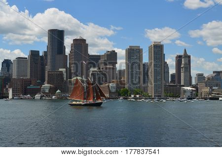 A gorgeous day sailing in Boston harbor during the summer.
