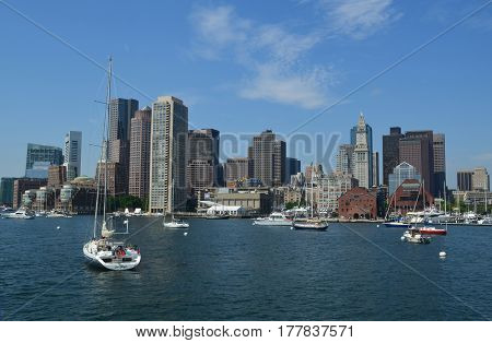 Beautiful view of the skyline in the city of Boston from the harbor.