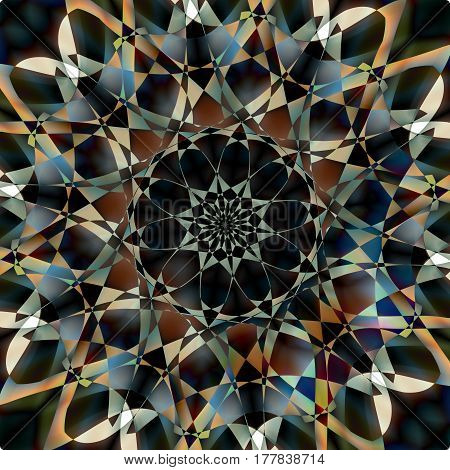 Abstract dark mosaic background. Colorful pattern. Vector illustration. Inspiration, fantasy spirituality, cosmo concept. Image for your design needs