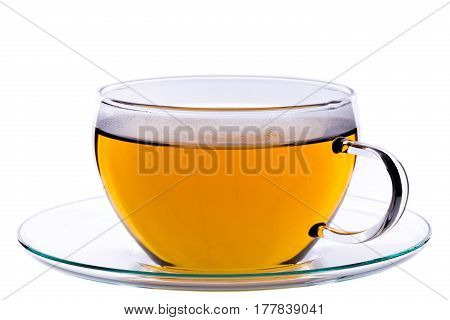 Cup of green chinese gunpowder tea on saucer isolated on white background clipping path included. The top of the cup is steamy.