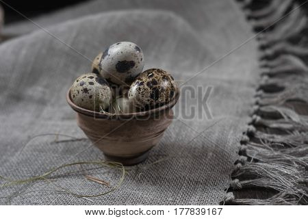Quail eggs in clay pot on dark background. Eco products