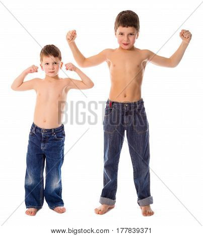Two boys showing his muscles, isolated on white