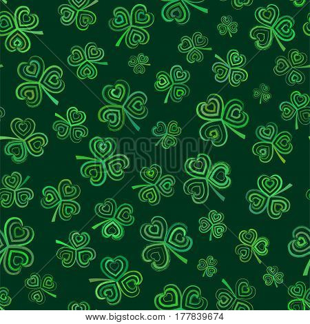 Vector seamless pattern with green clover. Element for your design.