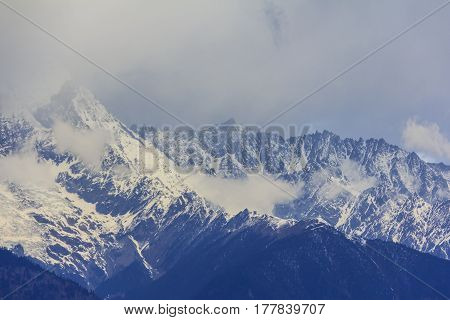 Scenery of Meili snow mountain and glacier this viewpoint from Feilai temple Deqing Yunnan China