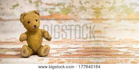 Website banner of cute vintage toy bear - birthday concept