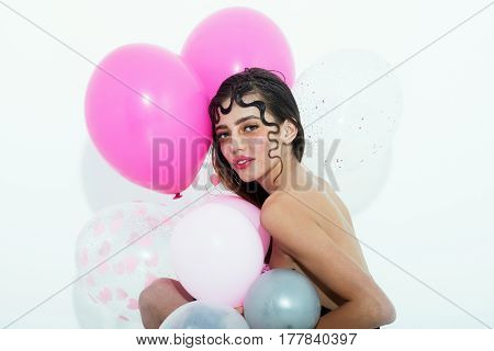 Pretty Girl With Pink Party Balloons Isolated On White