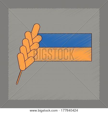 flat shading style icon of Ukrainian flag