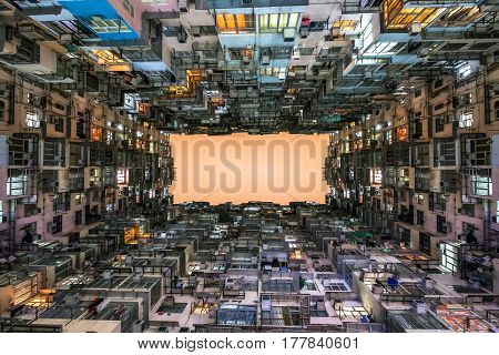 Low Angle View Of Crowded Residential Towers In An Old Community In Quarry Bay, Hong Kong. Scenery O