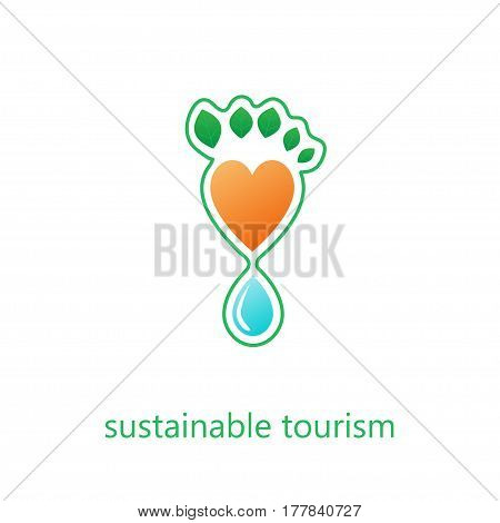 Sustainable tourism concept. Stock vector illustration of footprint formed by water drop and heart shape and green leaves.