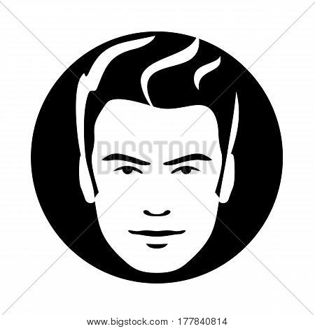 Man model face style sketch. Hair look icon. Sign vector illustration