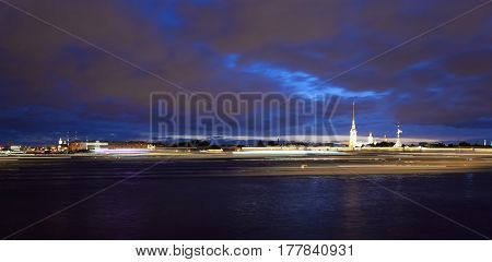 River Neva and Peter and Paul Fortress at night in St.Petersburg Russia. Night shooting with slow shutter speed.