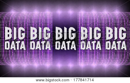 Violet futuristic vector backdrop with binary code and the words big data