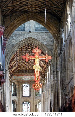 PETERBOROUGH, UK - MARCH 14, 2008 - Crucifix hanging from the ceiling of Peterborough Cathedral (Cathedral Church of St. Peter St. Paul and St. Andrew) Peterborough Cambridgeshire England UK Europe, March 14, 2008.