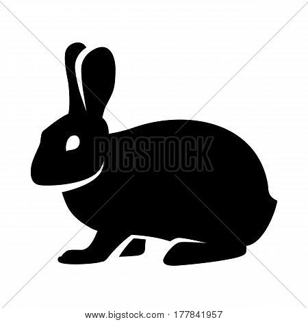 Black and white silhouette of a fluffy rabbit or hare sitting on a white background. Logo. Vector illustration