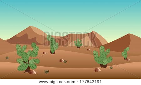 Desert landscape background. with sand dunes and cactus bushes. Horizontally seamless can be used in game asset. Vector Illustration