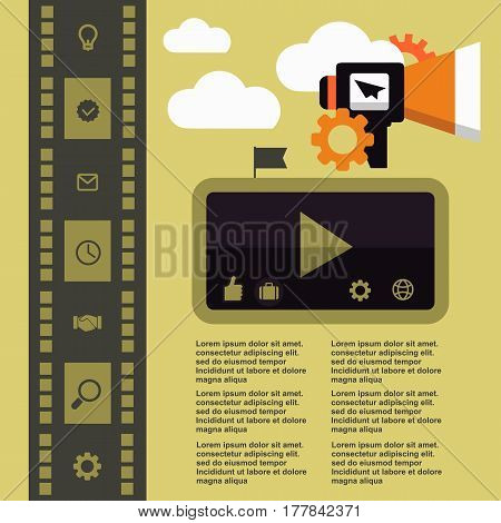 Retro movie template media player flat design illustration modern style vector concept iconsdigital online advertising