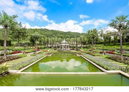 Nakhonratchasima Thailand - September 25, 2016 : Beautiful Garden At Kensington English Hotel, Nakho