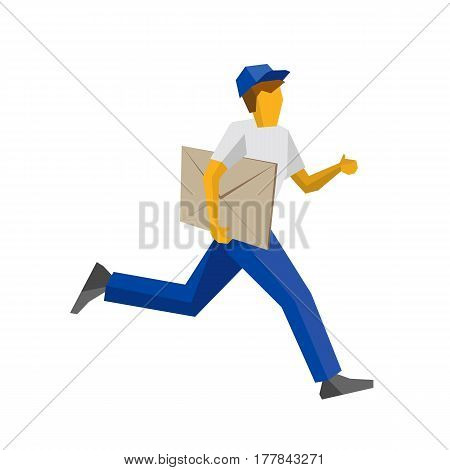 Running Delivery Man Holding Big Postal Envelope