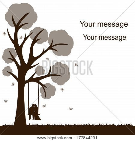 Card with a couple on a white background with a tree butterflies and swing. Bride and groom. Also suitable for invitation card. Vector illustration.