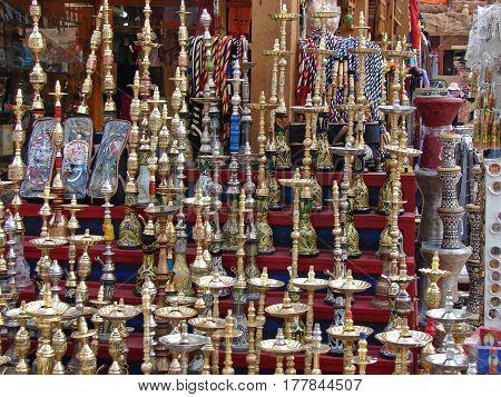 Numerous shisha pipes on an Arabic bazaar