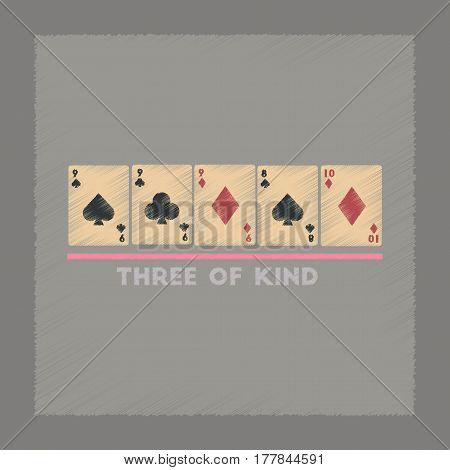 flat shading style icon poker three of a kind