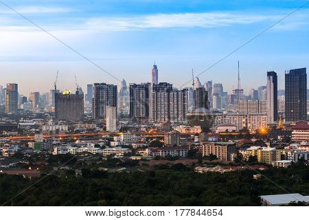 Clear blue sky as a background wallpaper with city scape at night