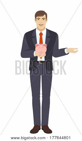 Businessman holding a piggy bank and gesturing. Full length portrait of businessman in a flat style. Vector illustration.