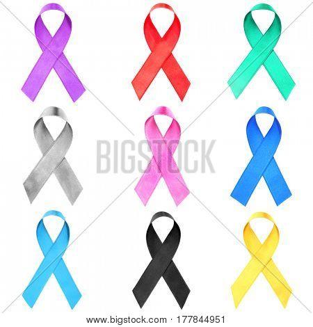 Set of symbolic ribbons on white background