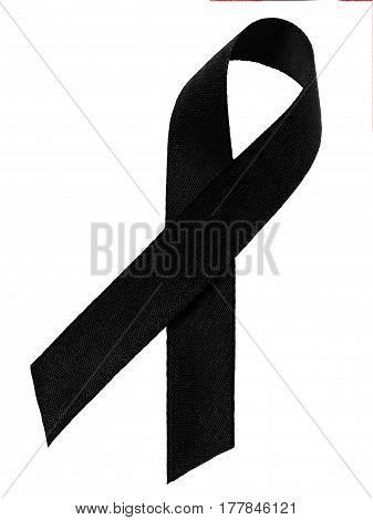 Black awareness ribbon isolated on white background