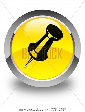 Push Pin Icon Glossy Yellow Round Button