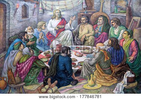 VAU I DEJES, ALBANIA - SEPTEMBER 30: Last supper altarpiece in Mother Teresa cathedral in Vau i Dejes, Albania on September 30, 2016.
