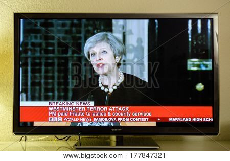 PARIS FRANCE - MAR 22 2017: Prime Minister Theresa May makes a statement in Downing street following the terrorist incident in Westminster live breaking news from BBC News