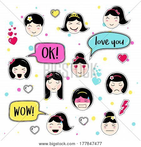 Set of cute patch badges. Girl emoji with different emotions and hairstyles. Kawaii emoticons, speech bubbles ok, love you, wow. Set of stickers, pins in anime style. Isolated vector illustration.