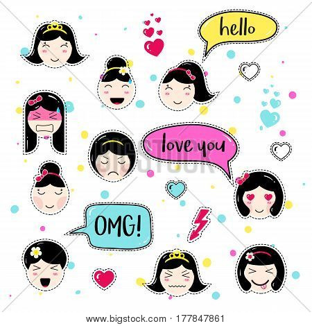 Set of cute patch badges. Girl emoji with different emotions and hairstyles. Kawaii emoticons, speech bubbles hello, love you, omg. Set of stickers, pins in anime style. Isolated vector illustration.
