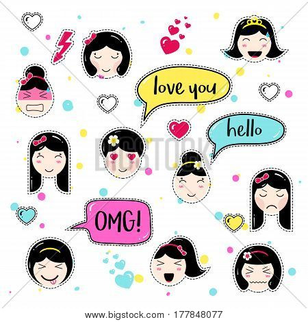 Set of cute patch badges. Girl emoji with different emotions and hairstyles. Kawaii emoticons, speech bubbles love you, hello, omg. Set of stickers, pins in anime style. Isolated vector illustration.