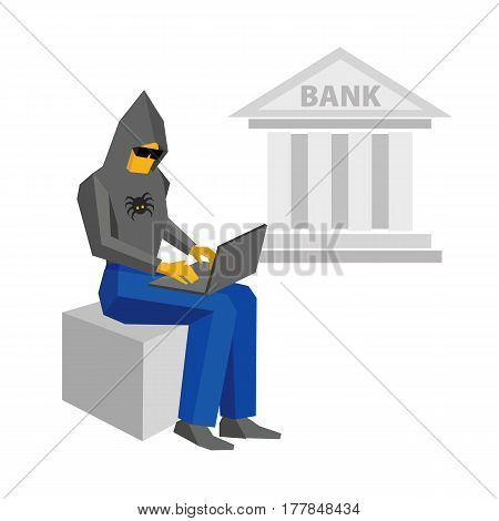 Computer Hacker With Laptop, Bank Building Behind