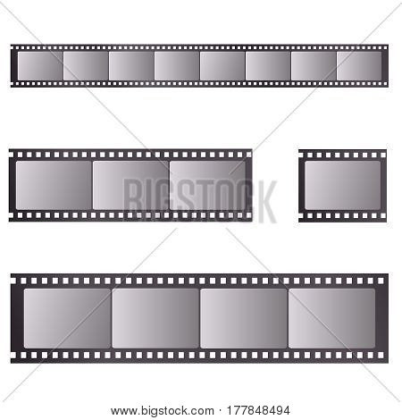 Vector retro worn torn film strips - waveform and straight strip.