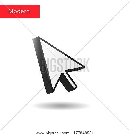 Vector mouse arrow pointers with shadow isolated
