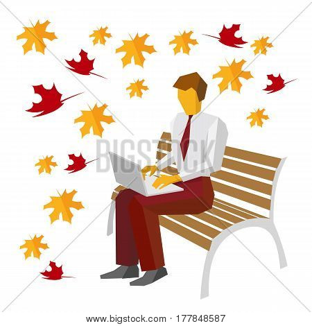 Businessman sitting on bench in the park and typing on laptop. Autumn leaves falling in the background. Man working with computer outdoor. Notebook with wireless internet. Isolated on white.