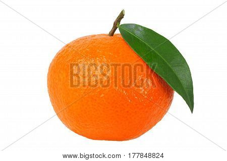 Mandarin orange with leaf isolated on white