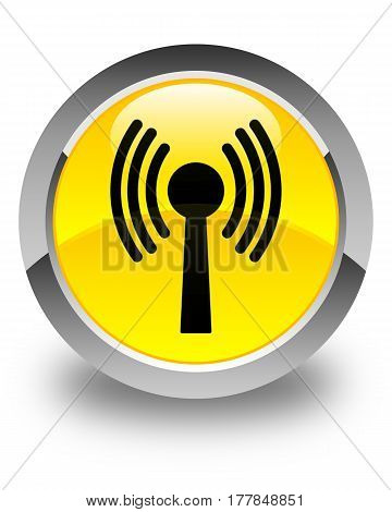 Wlan Network Icon Glossy Yellow Round Button