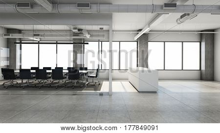 Office reception design Modern & Loft - 3D render