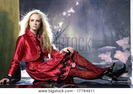 Fashion model posing in the studio