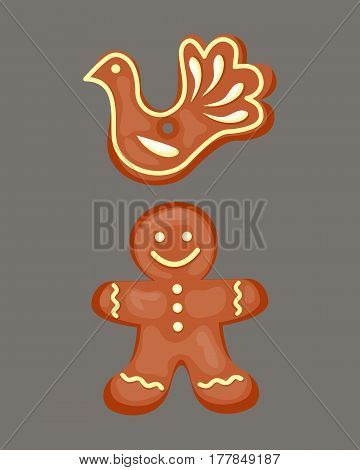 Cookie gingerbread homemade breakfast bake cakes isolated and tasty snack biscuit pastry delicious sweet dessert bakery eating vector illustration. Gourmet indulgence stack unhealthy confectionery.