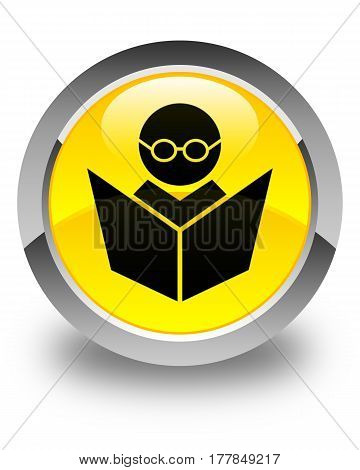 Elearning Icon Glossy Yellow Round Button