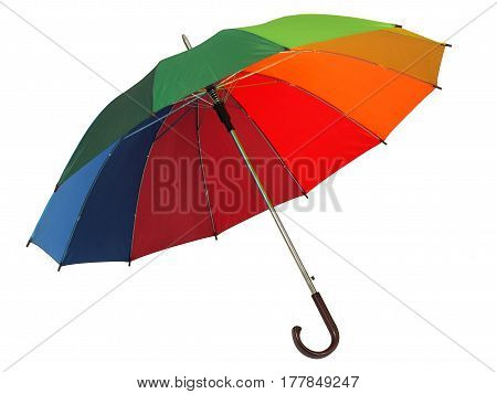 Big rainbow umbrella isolated on white background