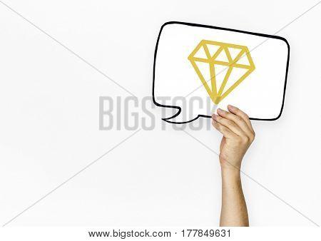 Diamond gem icon graphic with people studio shoot