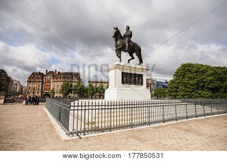 Monument to Henry IV in Paris. Travel through Europe. Attractions in France. poster