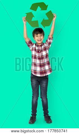 Little Boy Holding Recycle Symbol Studio Portrait