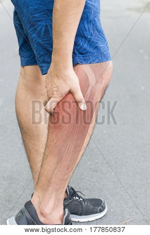 calf muscle pain white background calf injury